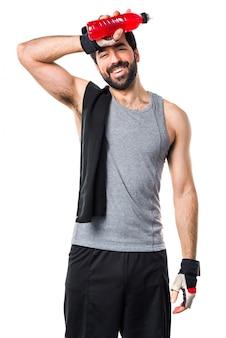 Bebida de bodybuilder crossfit de dieta esportiva