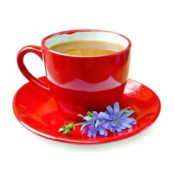 Bebida de chicória em um copo vermelho com flor de chicória em um pires isolado no fundo branco