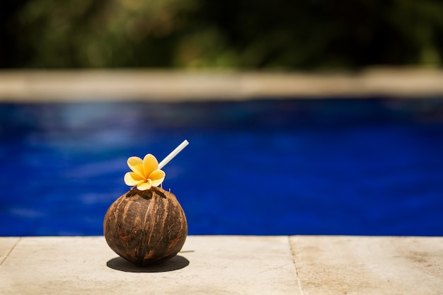 Bebida de coco tropical com flor amarela, na borda da piscina. hotel relaxante