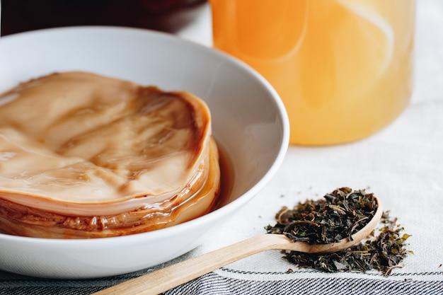 Bebida de kombucha. fermentação de kombucha. cogumelo do chá