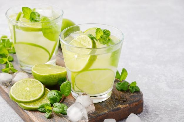 Bebida de verão refrescante fria com limão e hortelã em um copo sobre uma mesa de concreto ou pedra cinza.