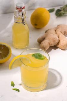 Bebida fermentada de kombuchá ao lado dos ingredientes. foto vertical
