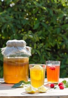Bebida fermentada kombucha em uma jarra de vidro e dois copos com uma bebida com limão e framboesa em primeiro plano, no jardim de verão, em uma mesa de madeira.