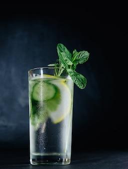 Bebida fresca de verão. água com gás desintoxicação de vidro saudável com limão, hortelã, alecrim e pepino em frasco de vidro sobre fundo escuro. conceito de comida saudável. dieta de desintoxicação.