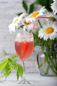 Bebida refrescante de frutas de verão gelada. compota caseira.