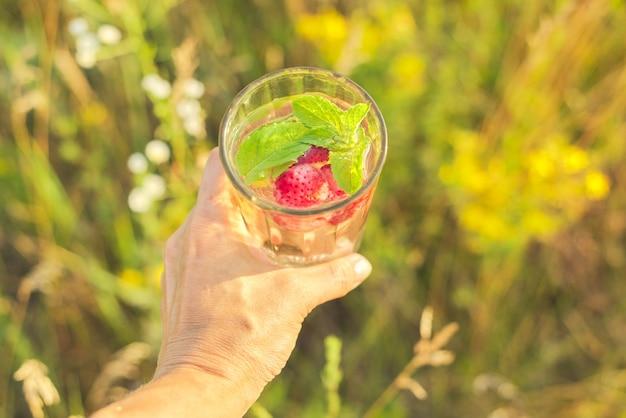 Bebida refrescante natural de verão com morangos menta na mão da mulher