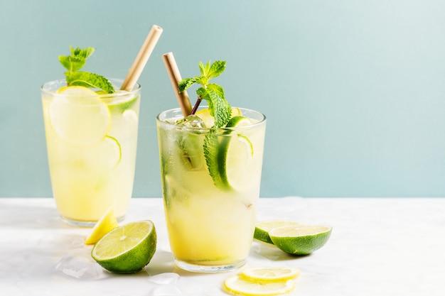 Bebida saborosa de coquetel com limão e hortelã. servido em copos. fechar-se