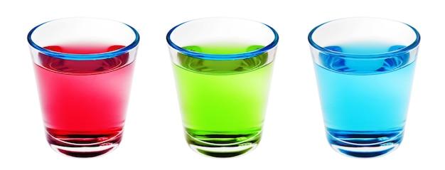 Bebidas de shot azul verde vermelho