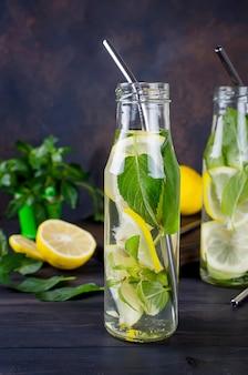 Bebidas frescas de mojito em garrafas e ingredientes - limão e hortelã