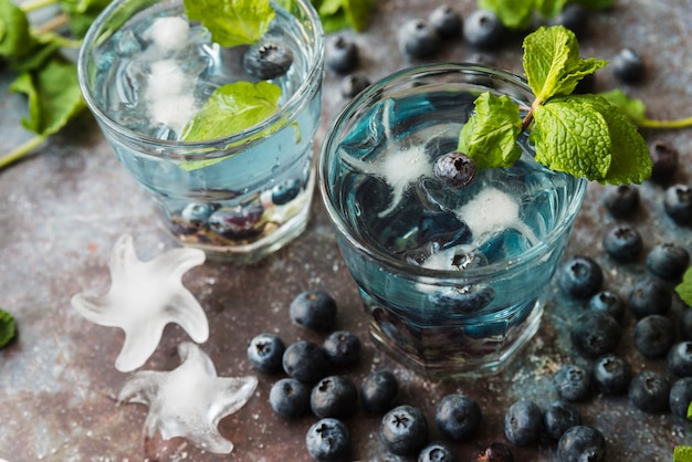 Bebidas refrescantes com mirtilos hortelã e gelo