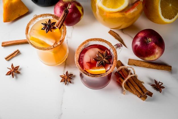 Bebidas tradicionais de outono e inverno e coquetéis.