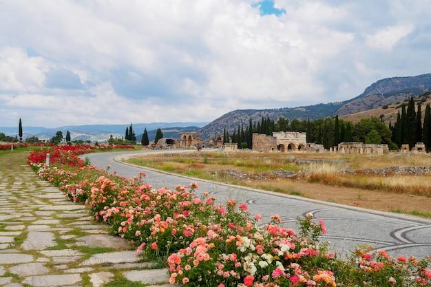 Beco das rosas no fundo das montanhas e ruínas dos edifícios da hierápolis pamukkale turquia