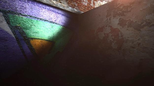 Beco escuro da cidade com a parede do edifício do grunge. estilo de ilustração 3d grunge e luxo para modelo cyberpunk e paisagem urbana