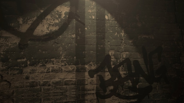 Beco escuro da cidade com grunge parede de construção noturna. estilo de ilustração 3d grunge e luxo para modelo cyberpunk e paisagem urbana
