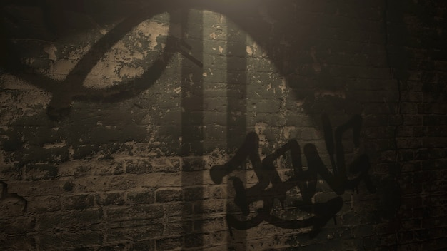 Beco escuro da cidade com parede de grunge do edifício noturno. estilo de ilustração 3d grunge e luxo para modelo cyberpunk e paisagem urbana