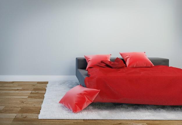 Bed room interior com cama preta e travesseiro vermelho com tapete