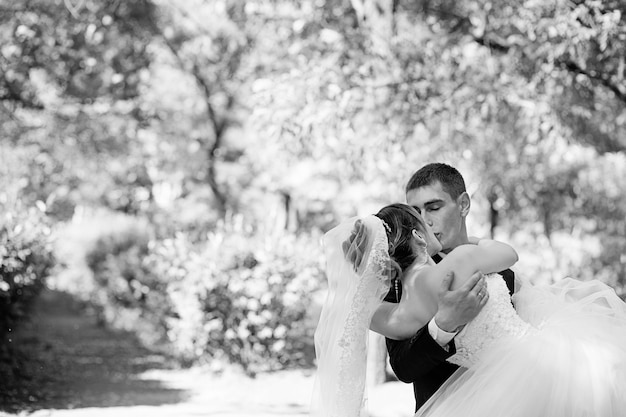 Beijar recém-casados amorosos. noiva e noivo se beijando no parque