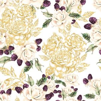 Bela aquarela e padrão gráfico dourado sem costura com flores rosas e bagas. ilustração