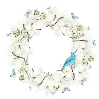 Bela aquarela moldura redonda com flores de orquídea e pássaro azul em fundo branco