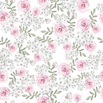 Bela aquarela sem costura padrão com flores rosas e folhas.