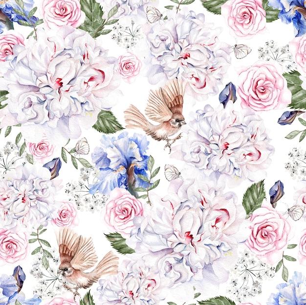 Bela aquarela sem costura padrão com rosas e flores de íris bidrs ilustração