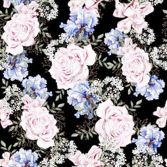 Bela aquarela sem costura padrão com rosas e flores de íris.