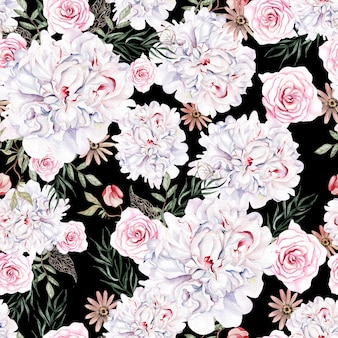 Bela aquarela sem costura padrão com rosas e flores peônia.
