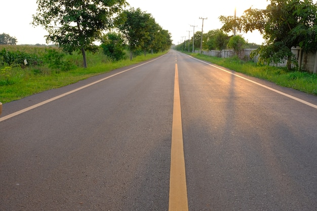Bela asfalto amarelo linha central estrada árvore e poste elétrico na zona rural ao pôr do sol