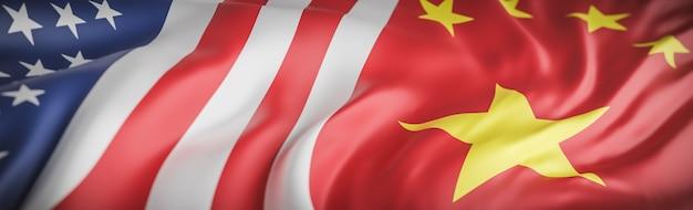 Bela bandeira americana e chinesa acenando de perto
