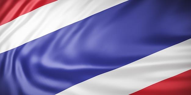 Bela bandeira da tailândia acenando de perto