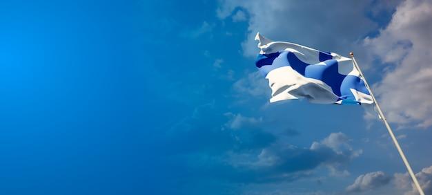 Bela bandeira do estado nacional da finlândia com espaço em branco no fundo largo