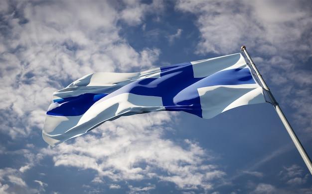 Bela bandeira do estado nacional da finlândia tremulando