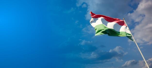 Bela bandeira do estado nacional da hungria com espaço em branco no fundo largo