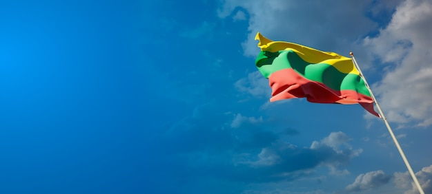 Bela bandeira do estado nacional da lituânia com espaço em branco no fundo largo