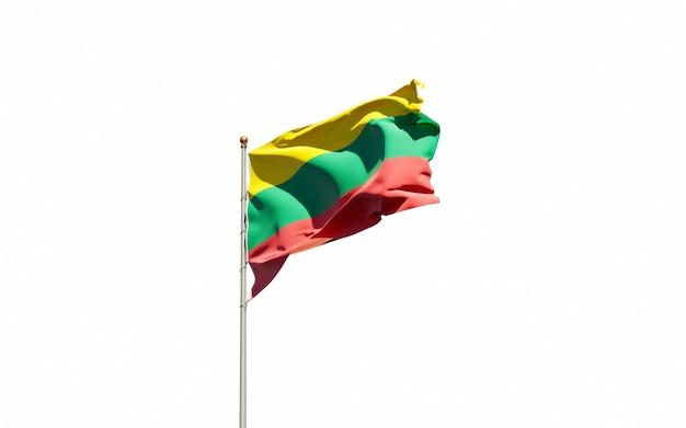 Bela bandeira do estado nacional da lituânia em fundo branco