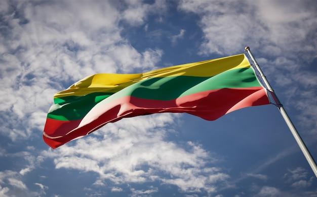 Bela bandeira do estado nacional da lituânia tremulando