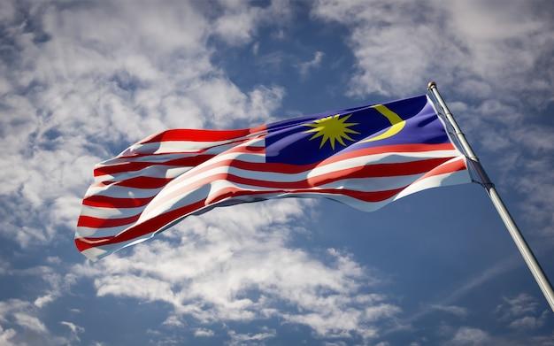 Bela bandeira do estado nacional da malásia tremulando