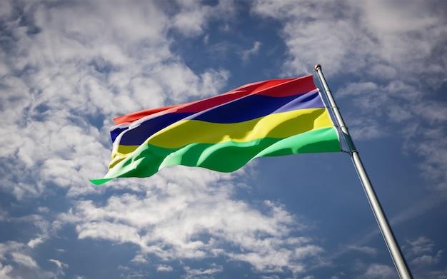 Bela bandeira do estado nacional da maurícia tremulando