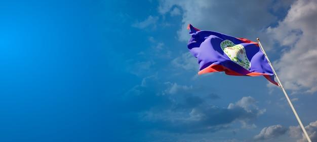 Bela bandeira do estado nacional de belize com espaço em branco. bandeira de belize com lugar para arte 3d de texto.