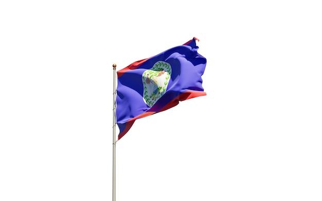 Bela bandeira do estado nacional de belize em branco