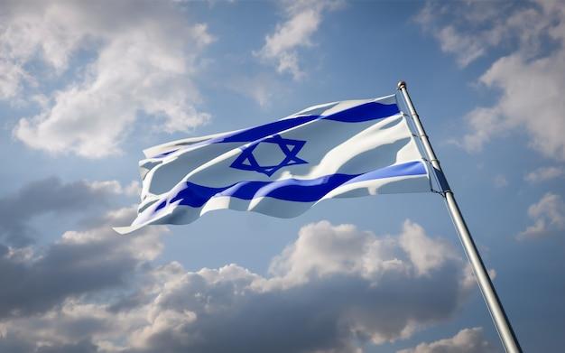 Bela bandeira do estado nacional de israel tremulando