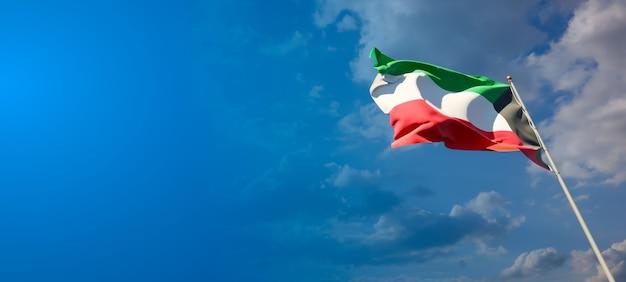 Bela bandeira do estado nacional do kuwait com espaço em branco no fundo largo