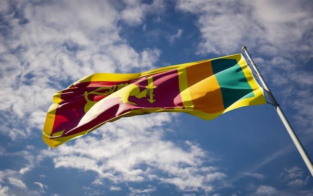 Bela bandeira do estado nacional do sri lanka tremulando