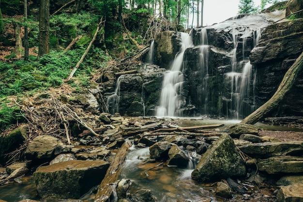 Bela cachoeira com uma árvore em primeiro plano para seu anúncio