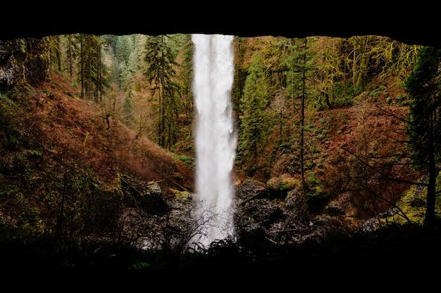 Bela cachoeira em uma floresta rochosa, rodeada por vegetação