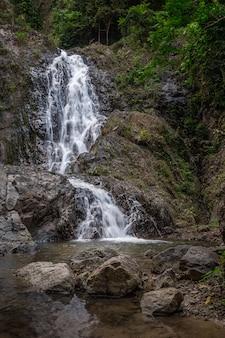 Bela cachoeira em uma floresta tropical verde