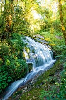 Bela cachoeira lan sa ded na trilha natural kew mae pan em doi inthanon, chiang mai, tailândia