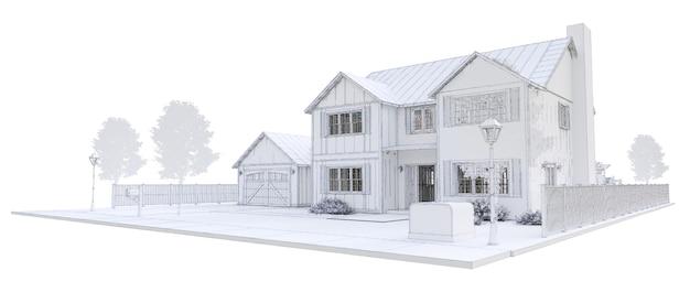 Bela casa branca moderna. ilustração 3d