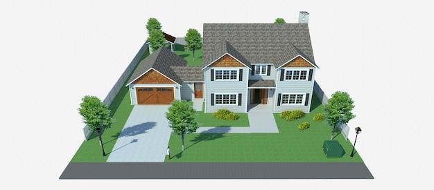 Bela casa moderna. ilustração 3d