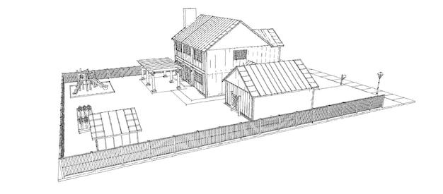 Bela casa moderna. skech de design de casa de campo. ilustração 3d.